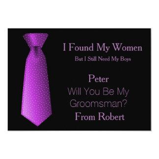 Will You Be My Groomsman Purple & White Tie Invitation