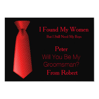 Will You Be My Groomsman Red & Black Tie Card