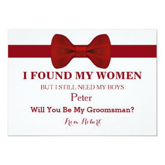 Will You Be My Groomsman Red Bow Tie Card