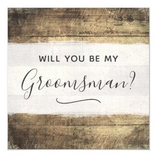 Will You Be My Groomsman Rustic Wood Farm Wedding Card
