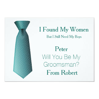 Will You Be My Groomsman Teal & White Tie Card