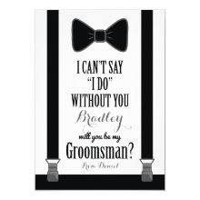 Will You Be My Groomsman - Tuxedo Tie Braces Cards