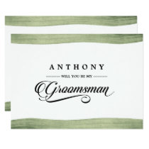 Will You be my Groomsman? Watercolor Invitations