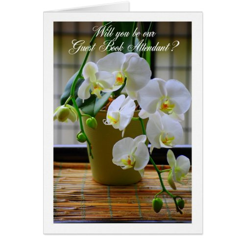 Will You Be My Guest Book Attendant? White Orchids Card
