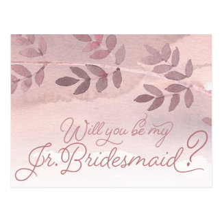 Will You Be My Jr. Bridesmaid Dusty Rose Wedding Postcard