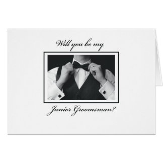 """Will You Be My Junior Groomsman, Black and White Card"