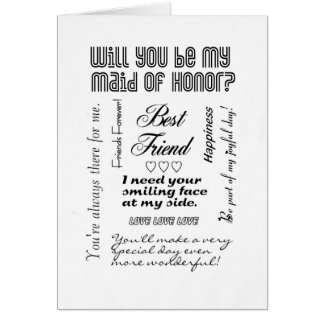 Will You Be My Maid of Honor Best Friend Cards