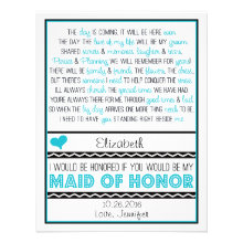 Will you be my Maid of Honor? Blue/Black Poem V2 Announcements