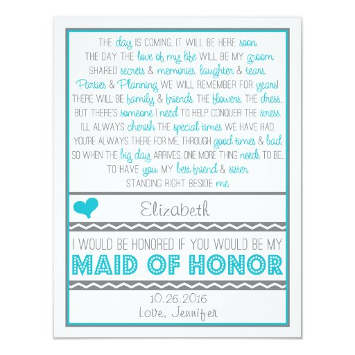 Will you be my Maid of Honor? Blue/Gray Poem Card
