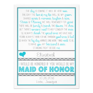 Will you be my Maid of Honor Blue Gray Poem Card