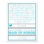 Will you be my Maid of Honor? Blue/Gray Poem Card Personalized Invites