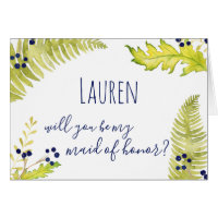 Will You Be My Maid of Honor? Blue & Green Nature