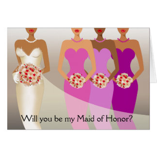 Will you be my Maid of Honor? Bridal Party purple Card