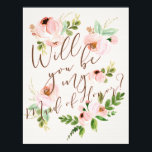 """Will You Be My Maid of Honor   Bridesmaid Card<br><div class=""""desc"""">Ask your bridesmaids in style with a beautiful card!   This greeting card features lovely watercolor florals and a mix of modern calligraphy,  making it easy for your best friends to say &quot;yes!&quot;.</div>"""
