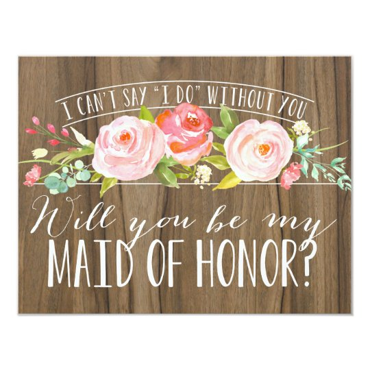 Will You Be My Maid Of Honor Bridesmaid Invitation Zazzle Com