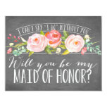 Will You Be My Maid of Honor   Bridesmaid 4.25x5.5 Paper Invitation Card