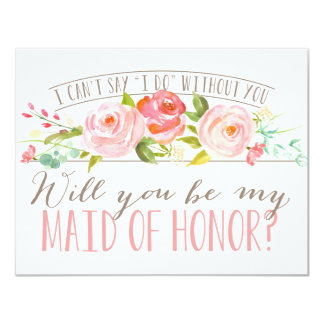 Will You Be My Maid of Honor | Bridesmaid 4.25x5.5 Paper Invitation Card