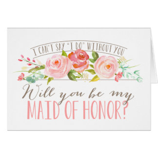 Will You Be My Maid of Honor   Bridesmaid Stationery Note Card