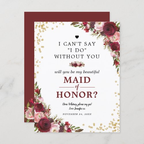 Will you be my Maid of Honor  Burgundy Blush Invitation