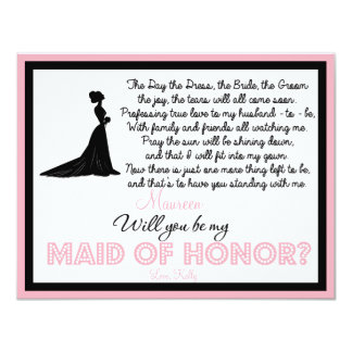 "Will you be my Maid of Honor? Card 4.25"" X 5.5"" Invitation Card"