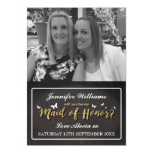 Custom Photo Will You Be My Maid of Honor Cards