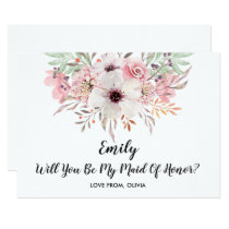 Will You Be My Maid Of Honor? Chic Floral Card