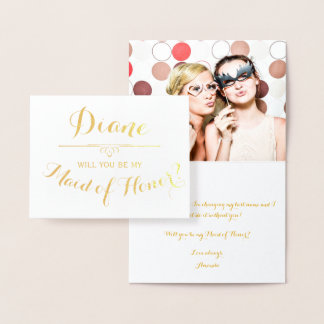 Will You Be My Maid of Honor Cursive Personalized Foil Card