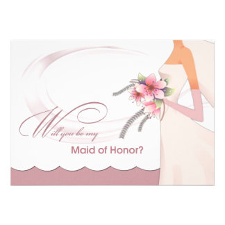 Will you be my Maid of Honor Custom Invitations