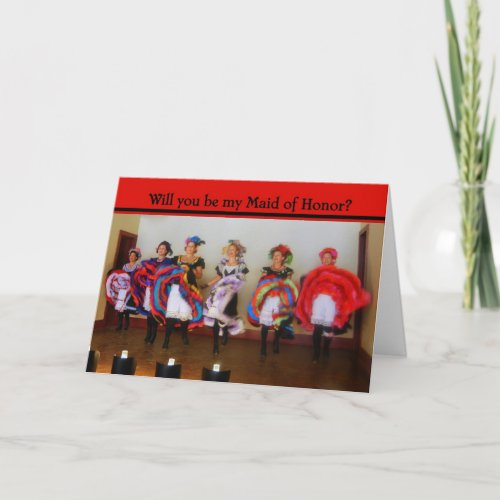 Will You be My Maid of Honor? Dance Hall Girls Car Invitation