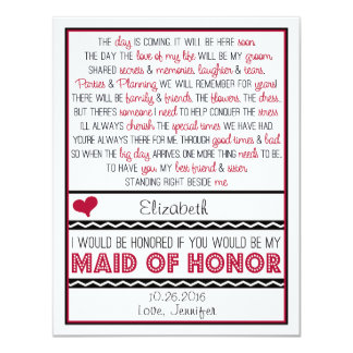 Will you be my Maid of Honor? Deep Red/Black Poem Personalized Announcement