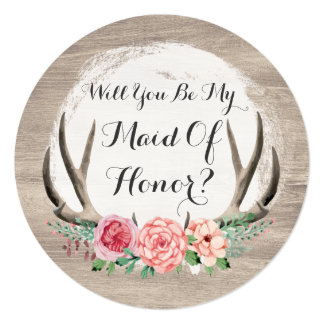 Will You Be My Maid Of Honor? Floral Antler Rustic Card