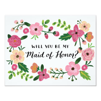 Will You Be My Maid of Honor Floral Card