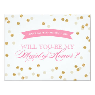 Will You Be My Maid of Honor Gold Confetti Card