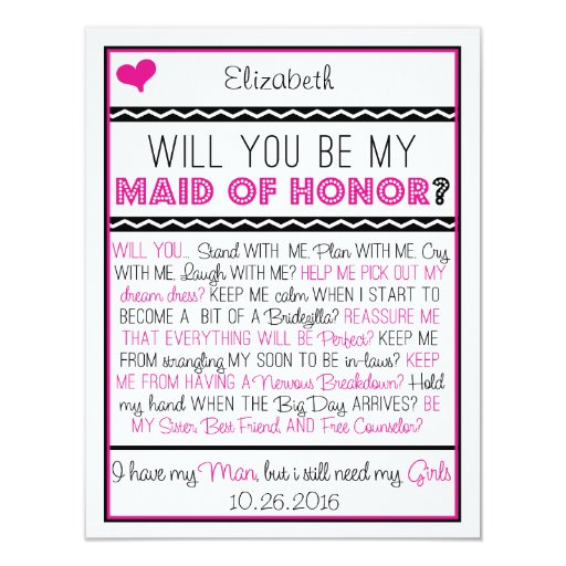 Will you be my Maid of Honor? Pink/Black Collage 4.25x5.5 ...