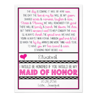 Will you be my Maid of Honor Pink Black Poem Card
