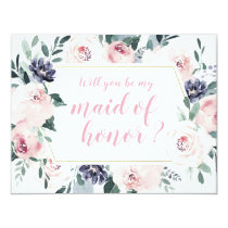 Will you be my maid of honor pink Botanical floral Card