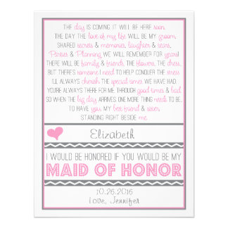 Will you be my Maid of Honor Pink Gray Poem Card