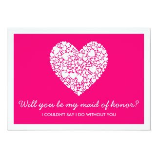 Will You Be My Maid Of Honor? Pink Heart Card