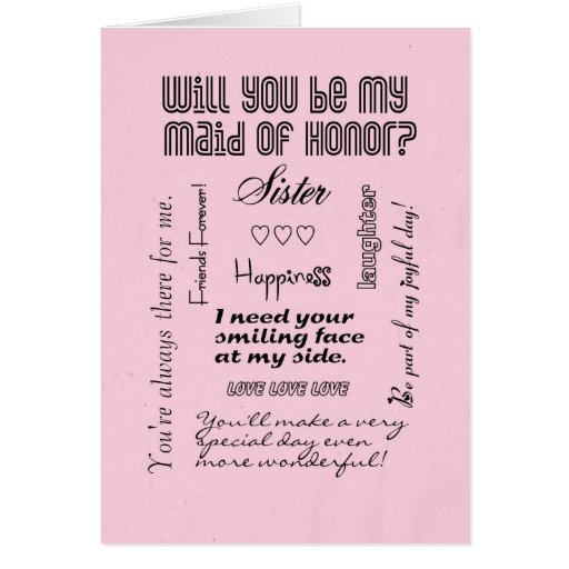 Will You Be My Maid of Honor, Pink, Sister? Cards