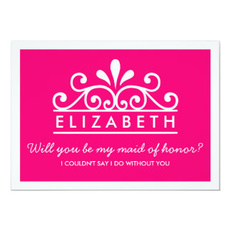 Will You Be My Maid Of Honor? Pink Tiara Card