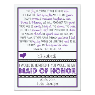 Will you be my Maid of Honor? Purple/Black Poem 4.25x5.5 Paper Invitation Card