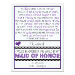 Will you be my Maid of Honor? Purple/Black Poem Card