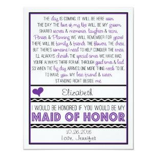 maid honor poem invitations zazzle
