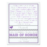 Will you be my Maid of Honor Purple/Gray Poem Card Custom Announcements