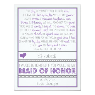 """Will you be my Maid of Honor Purple/Gray Poem Card 4.25"""" X 5.5"""" Invitation Card"""
