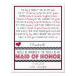 Will you be my Maid of Honor? Red/Black Poem V2 Personalized Announcement