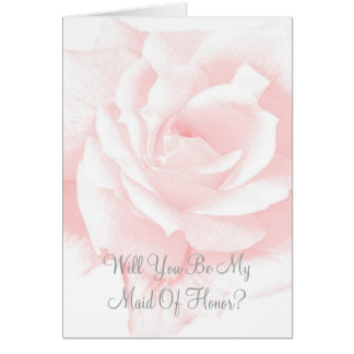Will You Be My Maid Of Honor Request Card Pink Ros