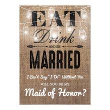 Will you be my Maid of Honor? | Rustic Bridesmaid Cards