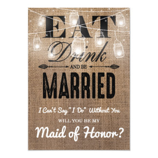 Will you be my Maid of Honor? | Rustic Bridesmaid Card
