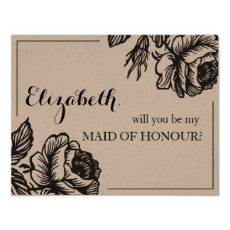 Will You Be My Maid of Honor Rustic Chic Floral Card
